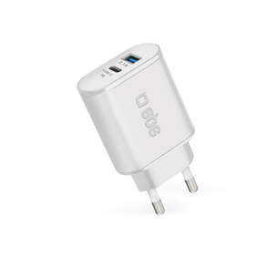 Wall charger USB and USB-C SBS (18 W)