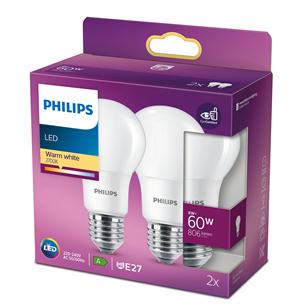 2 светодиодные лампы Philips (Е27, 60 Вт)