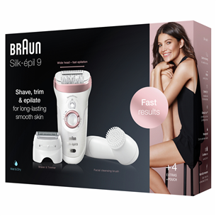 Epilator Silk-épil 9 SensoSmart + Facial brush, Braun SES9880