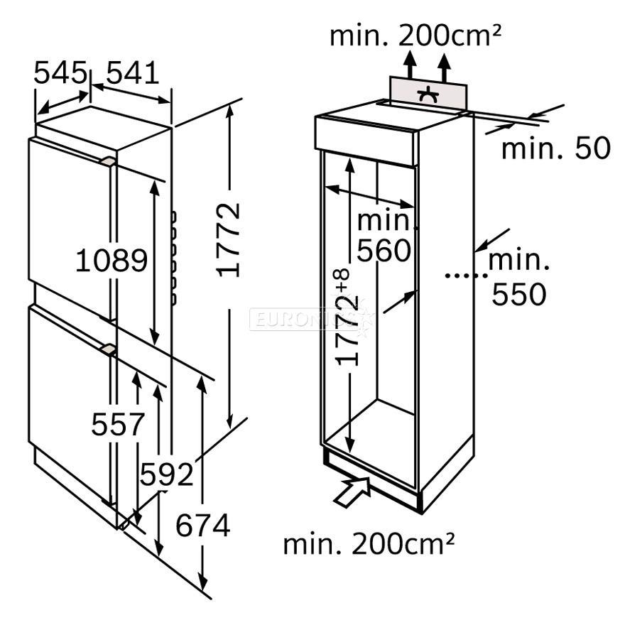 Built In Refrigerator Bosch Height 177 2 Cm Kiv38v20ff