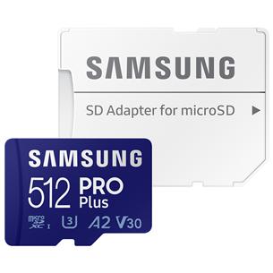 Карта памяти Micro SDXC + SD-адаптер Samsung PRO Plus 2021 (512 ГБ)