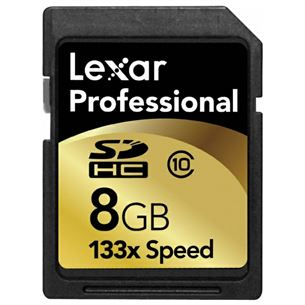 SDHC mälukaart 133X Professional, Lexar (8 GB)