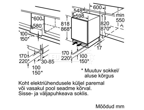 integreeritav jahekapp  bosch    k u00f5rgus  81 8 cm  kur15a65