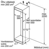 Integreeritav külmik Bosch (178 cm)