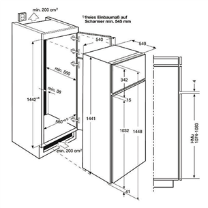 Интегрируемый холодильник Electrolux (144 см)