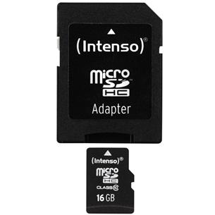 Adapteriga microSDHC mälukaart, Intenso / 16 GB