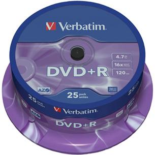 DVD+R toorikud (4,7 GB), Verbatim / 25 tk