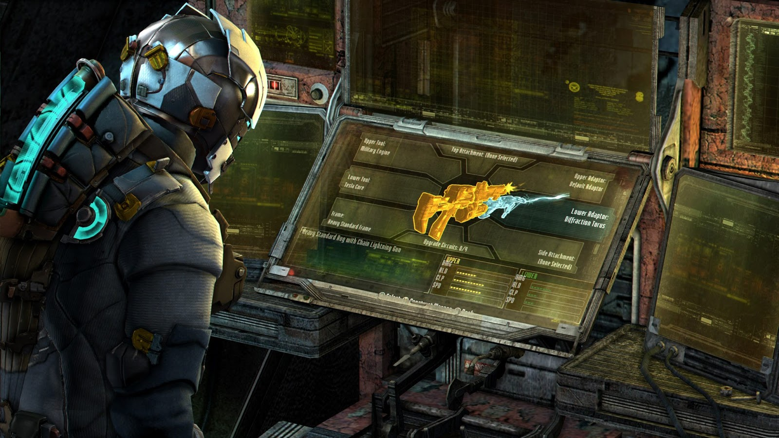 Computer screens in Dead Space with interactive interfaces