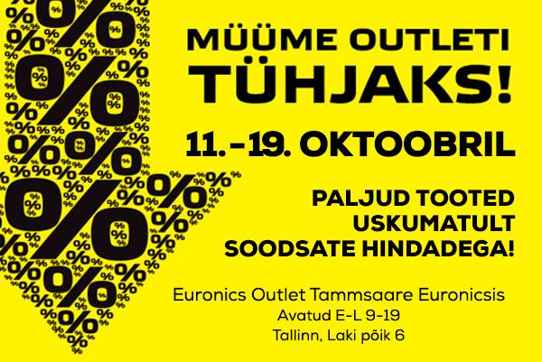 Suur tühjendusmüük 12. novembrist 17. novembrini 2018 Tammsaare Euronics Outletis. Paljud tooted uskumatult soodsate hindadega. Euronics Outlet Tammsaare Euronicsis on avatud E-L 9-19, aadressil Karjavälja 18, Tallinn